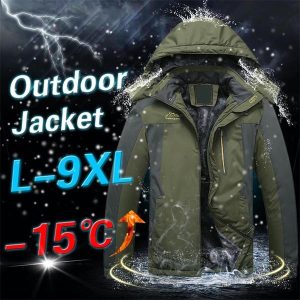 Зимние куртки на открытом воздухе Мужчины Густой теплый водонепроницаемый ветрозащитный капюшоном утепленная пальто Ветровка Военный руно Зимний Открытый Jacket