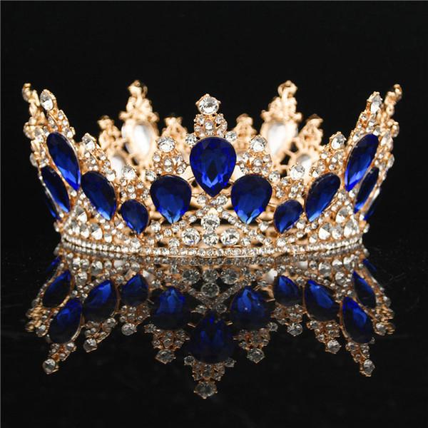 Andifany Baroque Couronne Crystal Diad/èmes De Mari/ée Couronne Vintage Or Cheveux Accessoires De Mariage Strass Diad/ème Pageant Couronnes Vert