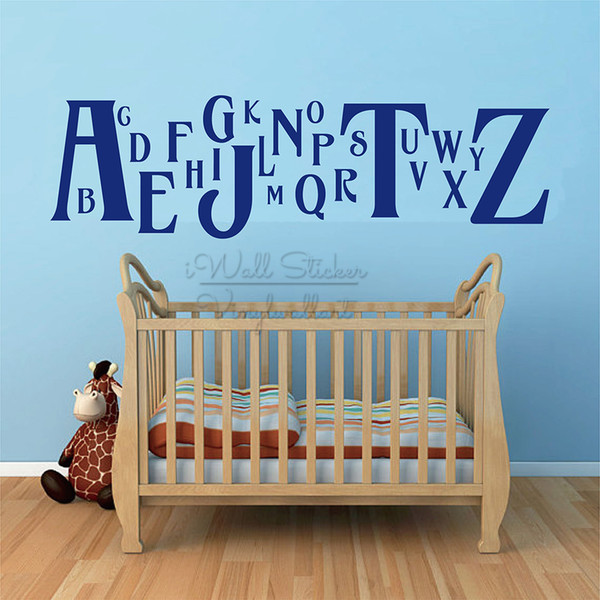 Baby Nursery Alphabet Quote Wall Sticker Children Room Wall Quotes Decal Removable Alphabet Lettering Wall Decor Cut Vinyl Q296