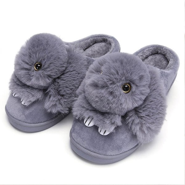 Women Winter Home Slippers Ladies Animal Cute Bunny Warm Plush Indoor slippers House Soft Casual Shoes For Women