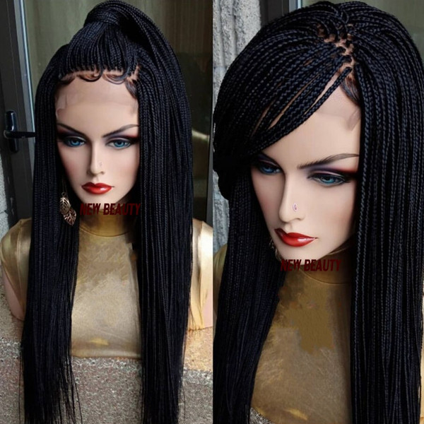 200density full Micro Box Braids wig black/brown/burgundy/blonde color Synthetic Braiding Hair wig africa women style lace front braids wig