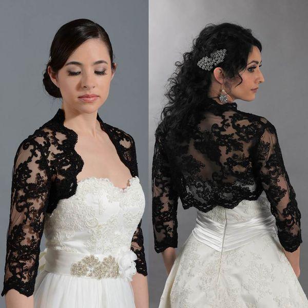Bolero da sposa nero giacca da sposa cappotto applique maniche lunghe avvolgere abiti da sposa bolero su misura accessori economici di alta qualità