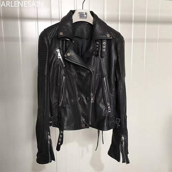 Arlenesain personalizzato classico importati pelle di pecora lavato donne di cuoio rivestimento di cuoio del motociclo delle donne breve
