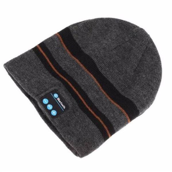 Wireless Bluetooth V4.2 Beanie Knitted Stripes Winter Outdoor Running Hat Headset Mic Headphone Music Headbands Sport Smart Cap