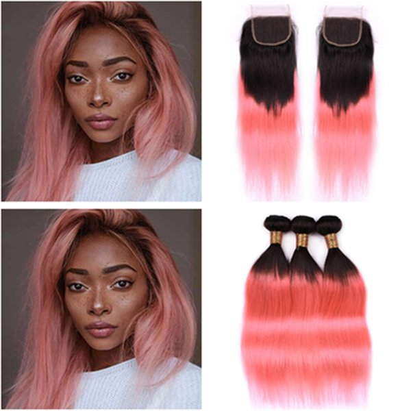 #1B/Pink Ombre Brazilian Human Hair Bundles with Closure Straight Ombre Rose Gold Weaves 3Bundles Dark Roots with 4x4 Lace Front Closure