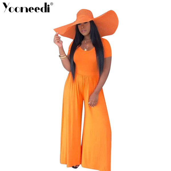Yooneedi 2019 Summer New Arrival Casual Women Jumpsuits Color Solid O-neck Short Sleeve Ladies Loose Rompers OD-8272