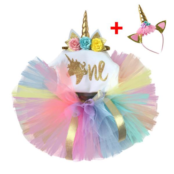 Summer Toddler Girl Dresses Childen's Clothing Unicorn Baby Girl Dress For 1 Year Old Tutu Dress Letter Ball Gown Vestido