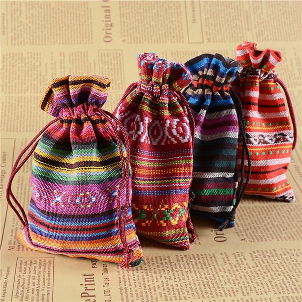 Ethnique Cordon Bijoux Pochettes Pour Mariage Anniversaire Faveurs De Fête Emballage Sac Cadeaux Sacs Bonbons Savon Emballage Sacs Style Chinois 10x14cm