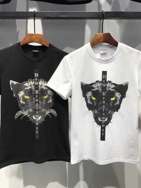 Mar spring summer new fashion men's t-shirt with cotton fabric breathable comfort black leopard print