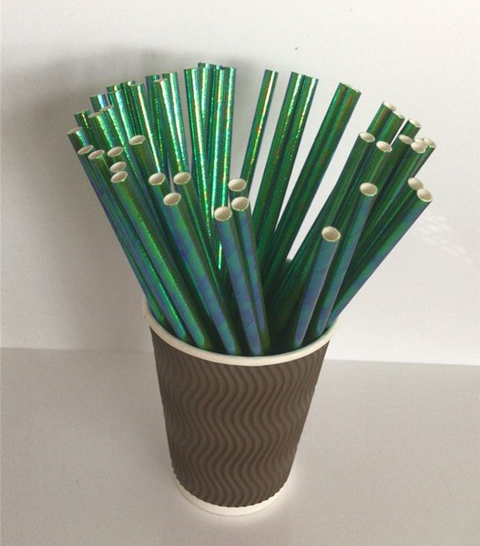 19.7cm*6mm straight iridescent paper straws 5 colors eco-friendly party straw pipes for drinking juice wholesale popular