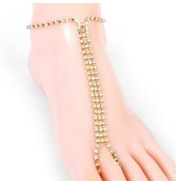 Fashion New Jewelry Exquisite Versatile Flash Drill Full Diamond Rhinestones Catch Chain Chain Beach Anklet Foot Ring Wholesale