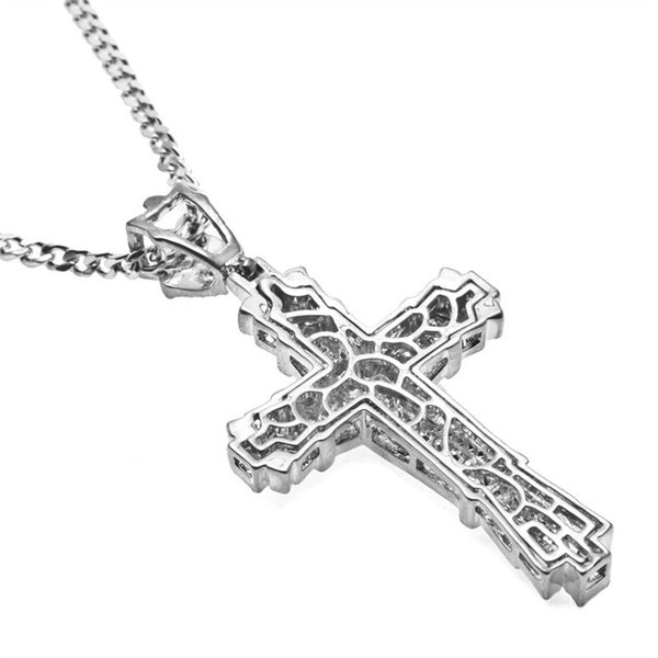 Men's Fashion Jewelry 18K Gold / 925 Silver 316L Stainless Steel Cross Pendant Necklace Chain Christmas Gift
