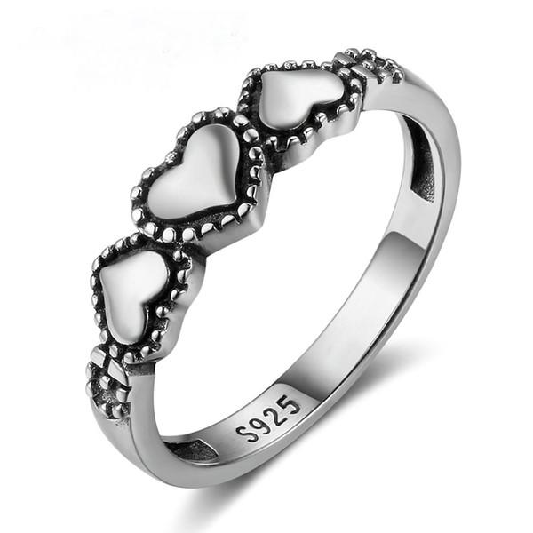 Kadınlar için yüksek kalite vintage 925 gümüş kalp nişan yüzüğü