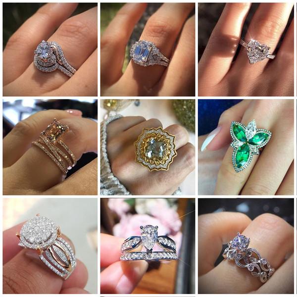Мода блестящие побрякушки геометрия Кристалл Циркон кольца женщины роскошь обещают любовь обручальные кольца свадебное заявление ювелирные изделия Z4M144