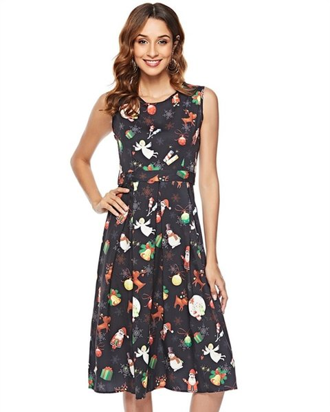 low priced new arrive website for discount S 2XL Xmas Fashion Wear Plus Size Womens Christmas Party Dress Pullover A  Line Swing Casual Dress A1 Floral Cocktail Dress Women In Dresses From ...