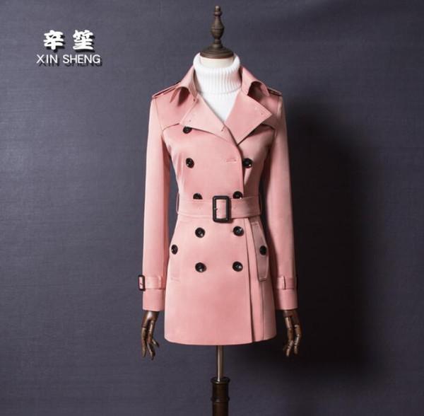 Mulheres europeias curto trench coat mangas compridas primavera senhoras casacos das mulheres casaco feminino Double-breasted mulher casaco rosa