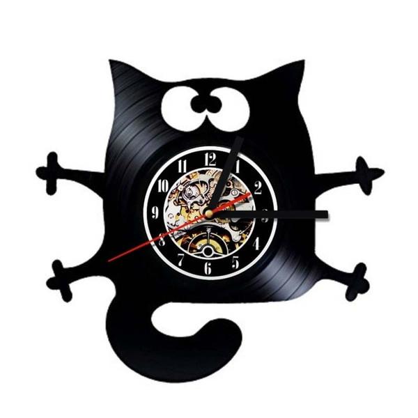 Chat Vinyle Horloge Art Vinyle Horloge Murale Cadeau Chambre Décor À La Maison Moderne À La Main Art Personnalité Cadeau (Taille: 12 pouces, Couleur: Noir)