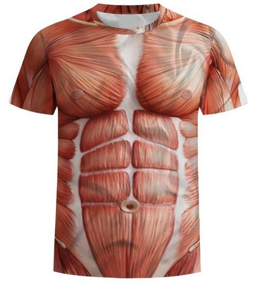 Date Nouveauté Streetwear Hommes Femme Été Style Muscle Drôle 3d Imprimer Casual O-cou T-Shirt Tops Plus La Taille RW0471