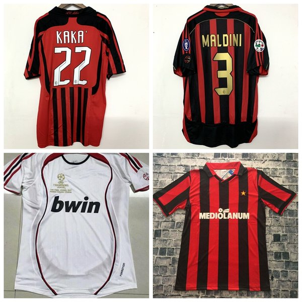 Retro classic 1991 1992 2006 2007 2008 Milan maillots de football INZAGHI PIRLO MALDINI KAKA SHEVCHENKO AC 06/07 Maillot de football rétro S-2XL