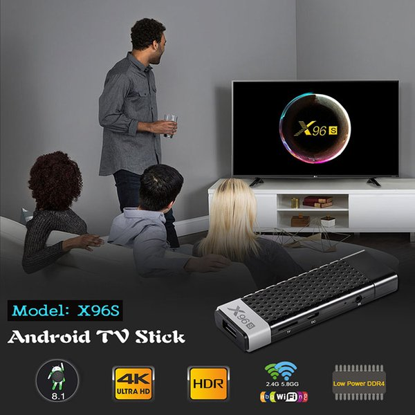 X96S Amlogic S905Y2 Android TV Stick LPDDR4 4GB eMMC 32GB Android 8.1 2.4G 5.8g Dual WiFi Bluetooth Smart Media Player