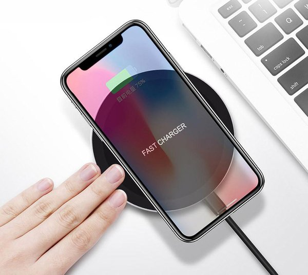 10W Qi Wireless Charger For iPhone 8 X 10 For Samsung Galaxy S8 S9 Plus Note 8 S6 S7 Edge Mobile Phone Charging Pad Dock 50pcs DHL
