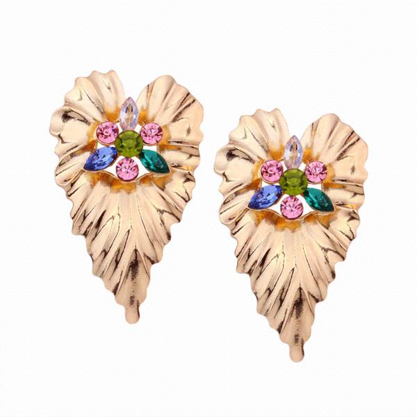Color oro pendientes de hoja grande para las mujeres pendientes de diamantes de imitación declaración grandes cuelgan pendientes regalo de la fiesta de la joyería de la vendimia