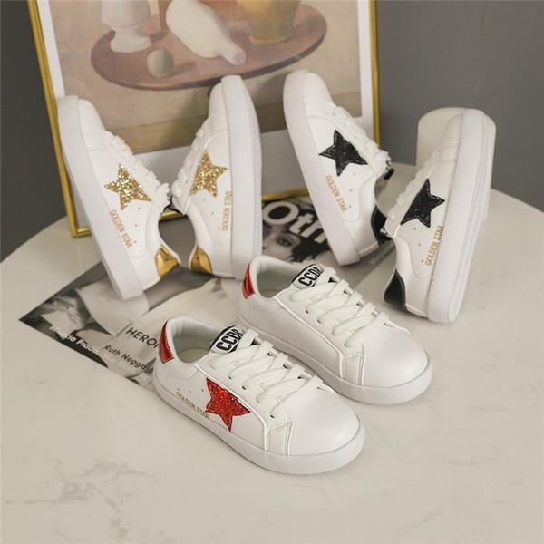 Sonbahar Bahar Moda Bebek kız beyaz düz ayakkabı çocuk yıldız spor Rahat ayakkabılar satış ücretsiz kargo