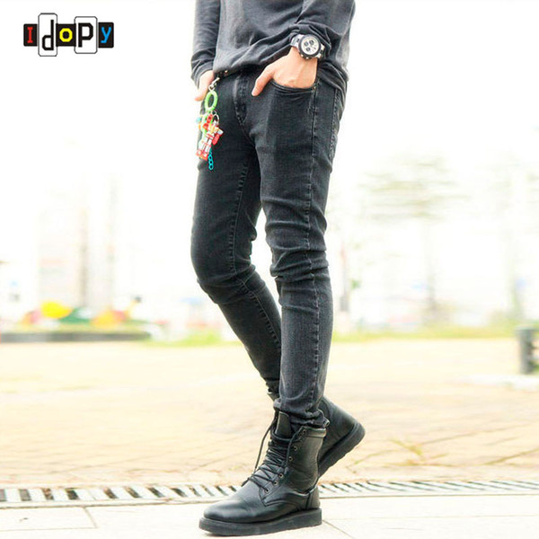 Funky Mens Fashion Pencil Pants Super Skinny Multi Color Elastic Ripped Washed Faded Slim Fit Long Jeans Trouser para hombres jóvenes