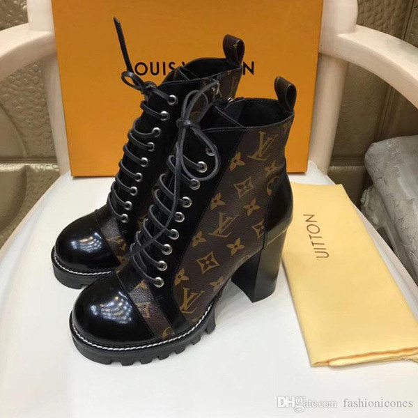 Fashion Luxury Designer Women Boots high quality Lace-up Ankle Boots With Leather and heavy-duty soles leisure lady Martin boots