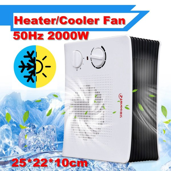 220V 2000W Portable Mini Electric Heater & Air Cooler Personal Space Warmer Desktop Adjustable Air Conditioning Fan Heater