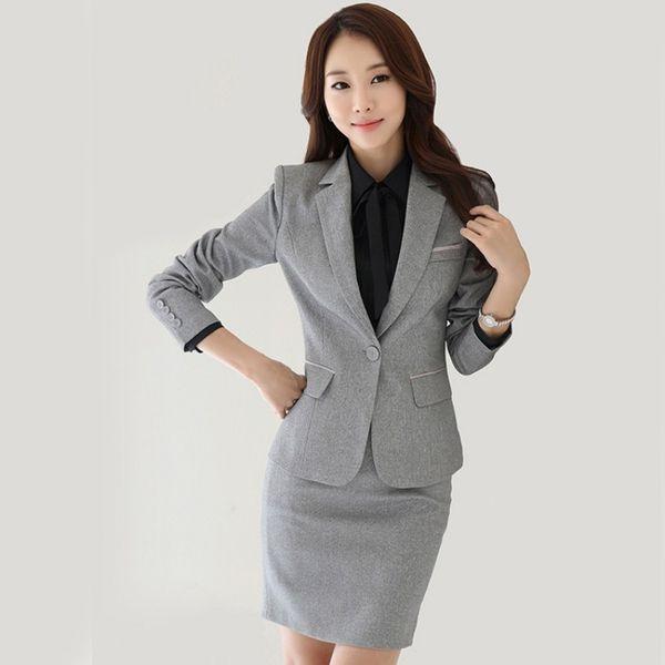 falda blazer gris