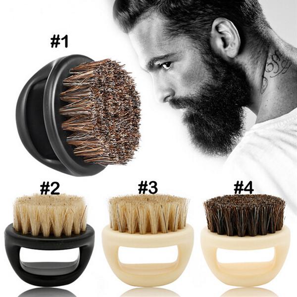 Anillo Cepillo para barba Caballo Cerdas Cepillo para la cabeza Cabello para hombres Barba Dedo afeitado Cuidado facial portátil Cepillo de limpieza para cuidado de barba