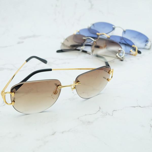 Gafas de sol vintage Diseñador de la marca para hombre Festival Decoración Gafas de moda Sin montura de metal Oval Sombrillas para mujeres