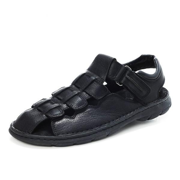 Suo Homens Sandálias de Couro Genuíno Moda Sapatos de Verão Homens Chinelos Tamanho Grande dos homens Sandálias Ao Ar Livre Novo Couro Macio