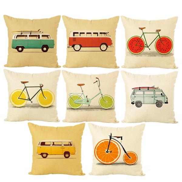 Decor Car 1PC Fruit bicicleta / autocarro impresso capa de almofada de linho fronha Praça decorativa Fronhas Home Cafe Sofá-cama