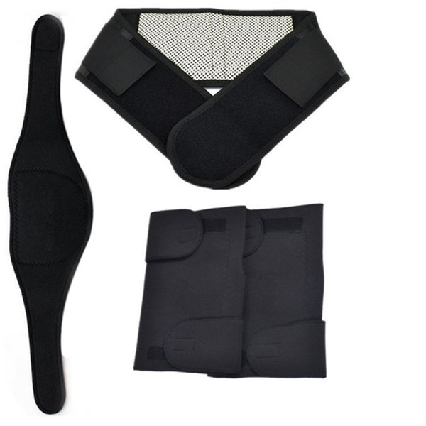 3PCS/Set Tourmaline Self-heating Magnetic Therapy Knee Pad Neck Belt and Back Waist Support Brace Massager Waist Protection #534590