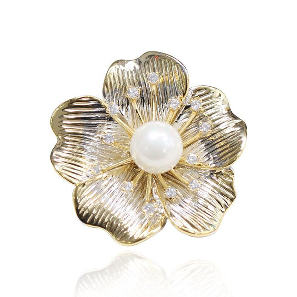 wholesale New Arrival Pearl Flower brooches Pins for Women Tiny Cubic Zirconia for Girls Gift