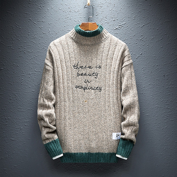 Men Knitted Sweaters New Embroidered Word Korean Style Fashion Half Turtleneck Jumper Sweater Men Man Autumn Winter Warm Clothes