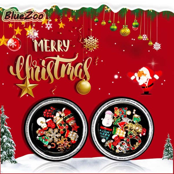 BlueZoo 1 Box Christmas Alloy Jewelry Christmas Hat Tree Snowman 3D DIY Tools Manicure Rhinestones Nail Art Decoration.