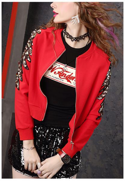 Spring Red Short Coat Women'S European Station 2019 New Fashion Elasticity  Show Slender Sequins Nail Pearl Jacket Trendy Brand Long Jacket Fur Jackets