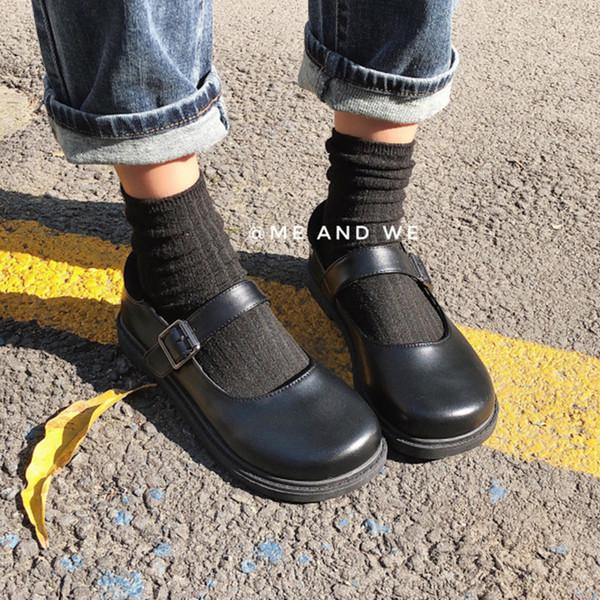 2019 new Japanese round head buckle flat shoes fashion retro big head doll Harajuku small leather