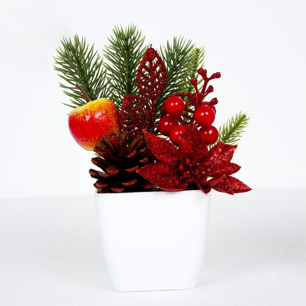 Christmas Bonsai Artificial Desktop Potted Plant Ornaments Innovative Small Gifts Pinecones Berries Table Scenes Decorations