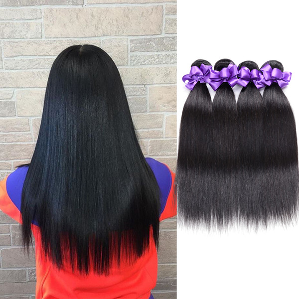 India Straight Hair Bundles Brazilian Malaysia Peruvian Indian Hair Weave 3 Bundles 8-28 Inch Remy Human Hair Extensions Natural Black