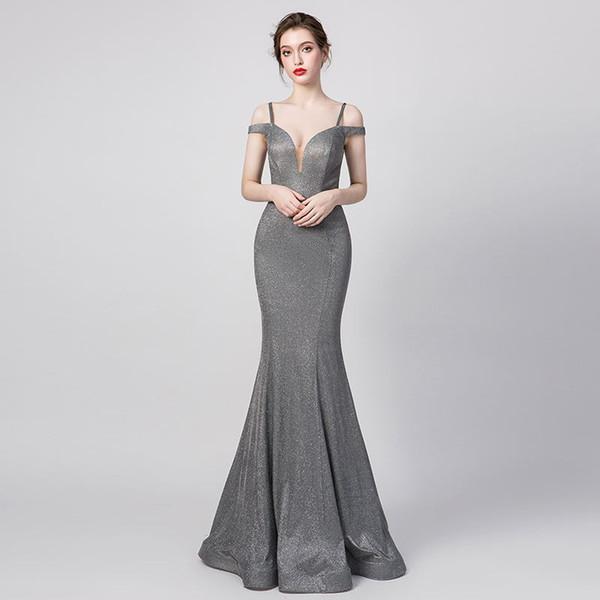 Modesto Foto real gris Mancha mate Sirena noche Vestidos para la ocasión 2019 fuera del hombro Longitud total simple Princesa Vestido de fiesta Vestidos