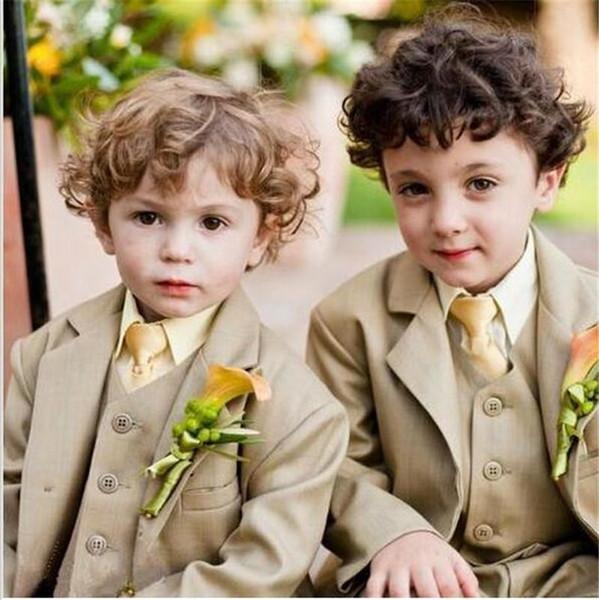 Notch Lapel Khaki Children Suits Fashion Tuxedos Flowers Wedding Party Boy Handsome 3 Pieces Suits 2017 (Jacket+Pants+Tie+Vest)