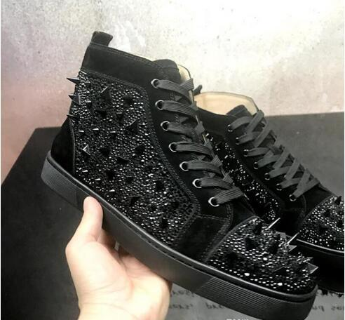 overseas2019 Wholesale Mens Ladys Rivets Studded Leather Top Spikes Red Bottom Sneakers,Brand Flat Boots Cool Shoes 35-46 Drop