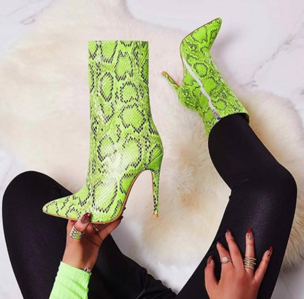 best selling Plus size 35 to 40 41 42 Green Animal Printed Ankle Boots Pointed Toe Stiletto Heels Come With Box