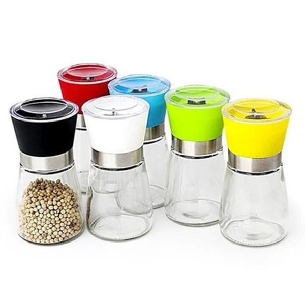 Molinillos de pimienta de vidrio para condimentar Molinillo de pimienta colorido Botella de molinillo de pimienta Muller de sal para Power Sesame