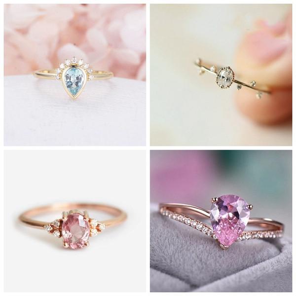 Tisonliz Dainty Rings for Women Geometric Water Drop Crystal Rings Female Bride Engagement Wedding Finger Jewelry anillos