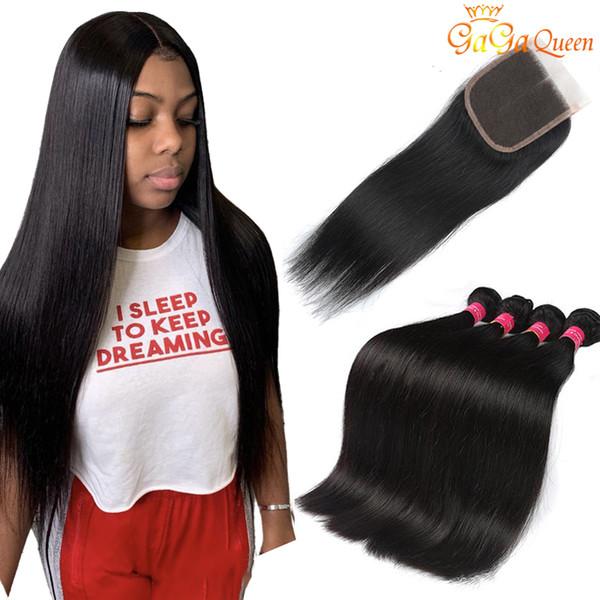 8A Перуанские прямые пучки человеческих волос с закрытием Перуанские волосы девственницы с 4x4 закрытием шнурка Перуанские пучки малайзийских волос
